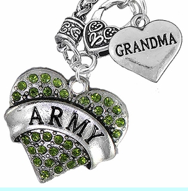"""<Br>      WHOLESALE ARMY MILITARY JEWELRY  <BR>                AN ALLAN ROBIN DESIGN!! <Br>          CADMIUM, LEAD & NICKEL FREE!!  <Br>W1480-1832N10 - """"ARMY - GRANDMA"""" HEART  <BR>CHARMS ON CLASP OF HEART LOBSTER CLASP CHAIN <BR>    NECKLACE FROM $8.50 TO $10.50 �2016"""