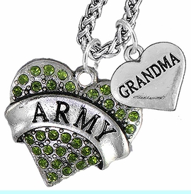 """<Br>             WHOLESALE ARMY MILITARY JEWELRY   <BR>                     AN ALLAN ROBIN DESIGN!!  <Br>               CADMIUM, LEAD & NICKEL FREE!!   <Br> W1480-1832N14 - """"ARMY - GRANDMA"""" HEART   <BR>CHARMS ON CHAIN OF HEART LOBSTER CLASP CHAIN  <BR>         NECKLACE FROM $8.50 TO $10.50 �2016"""