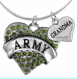 """<Br>      WHOLESALE ARMY MILITARY JEWELRY  <BR>                AN ALLAN ROBIN DESIGN!! <Br>          CADMIUM, LEAD & NICKEL FREE!!  <Br>W1480-1832N2 - """"ARMY - GRANDMA"""" HEART  <BR>  CHARMS ON LOBSTER CLASP SNAKE CHAIN NECKLACE <BR>        FROM $8.50 TO $10.50 �2016"""