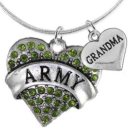 "<Br>      WHOLESALE ARMY MILITARY JEWELRY  <BR>                AN ALLAN ROBIN DESIGN!! <Br>          CADMIUM, LEAD & NICKEL FREE!!  <Br>W1480-1832N2 - ""ARMY - GRANDMA"" HEART  <BR>  CHARMS ON LOBSTER CLASP SNAKE CHAIN NECKLACE <BR>        FROM $8.50 TO $10.50 �2016"