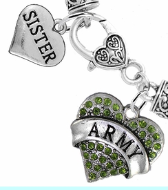 """<Br>     WHOLESALE ARMY MILITARY JEWELRY  <BR>                AN ALLAN ROBIN DESIGN!! <Br>          CADMIUM, LEAD & NICKEL FREE!!  <Br> W1480-1833B1 - """"ARMY - SISTER"""" HEART  <BR>  CHARMS ON HEART LOBSTER CLASP BRACELET <BR>            FROM $7.50 TO $9.50 �2016"""