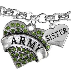 """<Br>         WHOLESALE ARMY MILITARY JEWELRY  <BR>                AN ALLAN ROBIN DESIGN!! <Br>          CADMIUM, LEAD & NICKEL FREE!!  <Br> W1480-1833B2 - """"ARMY - SISTER"""" HEART  <BR>CHARMS ON LOBSTER CLASP ROLLO CHAIN BRACELET <BR>            FROM $7.50 TO $9.50 �2016"""