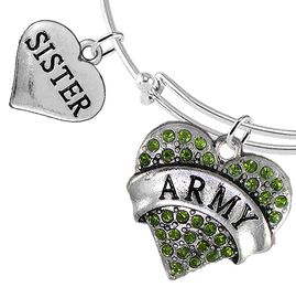 """<Br>         WHOLESALE ARMY MILITARY JEWELRY  <BR>                AN ALLAN ROBIN DESIGN!! <Br>          CADMIUM, LEAD & NICKEL FREE!!  <Br> W1480-1833B9 - """"ARMY - SISTER"""" HEART  <BR>CHARMS ON THIN ADJUSTABLE WIRE BRACELET <BR>            FROM $7.50 TO $9.50 �2016"""