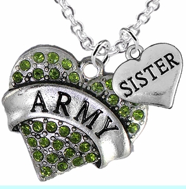 """<Br>      WHOLESALE ARMY MILITARY JEWELRY  <BR>                AN ALLAN ROBIN DESIGN!! <Br>          CADMIUM, LEAD & NICKEL FREE!!  <Br>W1480-1833N1 - """"ARMY - SISTER"""" HEART  <BR>  CHARMS ON LOBSTER CLASP CHAIN NECKLACE <BR>        FROM $8.50 TO $10.50 �2016"""