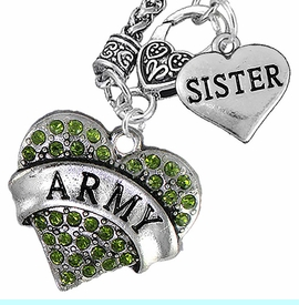 """<Br>      WHOLESALE ARMY MILITARY JEWELRY  <BR>                AN ALLAN ROBIN DESIGN!! <Br>          CADMIUM, LEAD & NICKEL FREE!!  <Br>W1480-1833N10 - """"ARMY - SISTER"""" HEART  <BR>CHARMS ON CLASP OF HEART LOBSTER CLASP CHAIN <BR>    NECKLACE FROM $8.50 TO $10.50 �2016"""