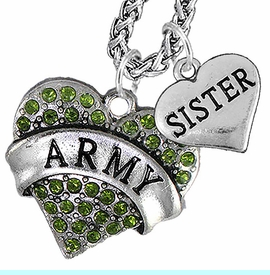 """<Br>             WHOLESALE ARMY MILITARY JEWELRY   <BR>                     AN ALLAN ROBIN DESIGN!!  <Br>               CADMIUM, LEAD & NICKEL FREE!!   <Br> W1480-1833N14 - """"ARMY - SISTER"""" HEART   <BR>CHARMS ON CHAIN OF HEART LOBSTER CLASP CHAIN  <BR>         NECKLACE FROM $8.50 TO $10.50 �2016"""