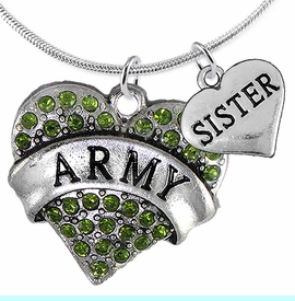 """<Br>      WHOLESALE ARMY MILITARY JEWELRY  <BR>                AN ALLAN ROBIN DESIGN!! <Br>          CADMIUM, LEAD & NICKEL FREE!!  <Br>W1480-1833N2 - """"ARMY - SISTER"""" HEART  <BR>  CHARMS ON LOBSTER CLASP SNAKE CHAIN NECKLACE <BR>        FROM $8.50 TO $10.50 �2016"""