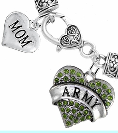 """<Br>     WHOLESALE ARMY MILITARY JEWELRY  <BR>                AN ALLAN ROBIN DESIGN!! <Br>          CADMIUM, LEAD & NICKEL FREE!!  <Br> W1480-1837B1 - """"ARMY - MOM"""" HEART  <BR>  CHARMS ON HEART LOBSTER CLASP BRACELET <BR>            FROM $7.50 TO $9.50 �2016"""
