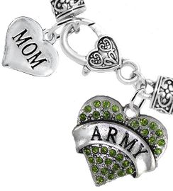 "<Br>     WHOLESALE ARMY MILITARY JEWELRY  <BR>                AN ALLAN ROBIN DESIGN!! <Br>          CADMIUM, LEAD & NICKEL FREE!!  <Br> W1480-1837B1 - ""ARMY - MOM"" HEART  <BR>  CHARMS ON HEART LOBSTER CLASP BRACELET <BR>            FROM $7.50 TO $9.50 �2016"