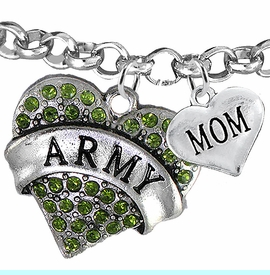 """<Br>         WHOLESALE ARMY MILITARY JEWELRY  <BR>                AN ALLAN ROBIN DESIGN!! <Br>          CADMIUM, LEAD & NICKEL FREE!!  <Br> W1480-1837B2 - """"ARMY - MOM"""" HEART  <BR>CHARMS ON LOBSTER CLASP ROLLO CHAIN BRACELET <BR>            FROM $7.50 TO $9.50 �2016"""