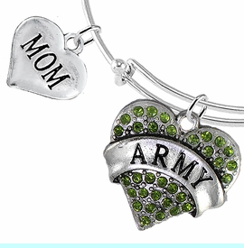 """<Br>         WHOLESALE ARMY MILITARY JEWELRY  <BR>                AN ALLAN ROBIN DESIGN!! <Br>          CADMIUM, LEAD & NICKEL FREE!!  <Br> W1480-1837B9 - """"ARMY - MOM"""" HEART  <BR>CHARMS ON THIN ADJUSTABLE WIRE BRACELET <BR>            FROM $7.50 TO $9.50 �2016"""