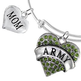 "<Br>         WHOLESALE ARMY MILITARY JEWELRY  <BR>                AN ALLAN ROBIN DESIGN!! <Br>          CADMIUM, LEAD & NICKEL FREE!!  <Br> W1480-1837B9 - ""ARMY - MOM"" HEART  <BR>CHARMS ON THIN ADJUSTABLE WIRE BRACELET <BR>            FROM $7.50 TO $9.50 �2016"