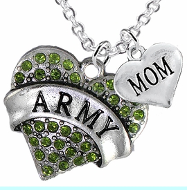 """<Br>      WHOLESALE ARMY MILITARY JEWELRY  <BR>                AN ALLAN ROBIN DESIGN!! <Br>          CADMIUM, LEAD & NICKEL FREE!!  <Br>W1480-1837N1 - """"ARMY - MOM"""" HEART  <BR>  CHARMS ON LOBSTER CLASP CHAIN NECKLACE <BR>        FROM $8.50 TO $10.50 �2016"""