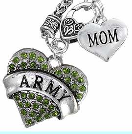 """<Br>      WHOLESALE ARMY MILITARY JEWELRY  <BR>                AN ALLAN ROBIN DESIGN!! <Br>          CADMIUM, LEAD & NICKEL FREE!!  <Br>W1480-1837N10 - """"ARMY - MOM"""" HEART  <BR>CHARMS ON CLASP OF HEART LOBSTER CLASP CHAIN <BR>    NECKLACE FROM $8.50 TO $10.50 �2016"""