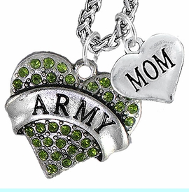"""<Br>             WHOLESALE ARMY MILITARY JEWELRY   <BR>                     AN ALLAN ROBIN DESIGN!!  <Br>               CADMIUM, LEAD & NICKEL FREE!!   <Br> W1480-1837N14 - """"ARMY - MOM"""" HEART   <BR>CHARMS ON CHAIN OF HEART LOBSTER CLASP CHAIN  <BR>         NECKLACE FROM $8.50 TO $10.50 �2016"""