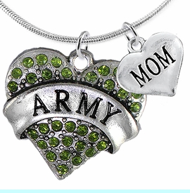 """<Br>      WHOLESALE ARMY MILITARY JEWELRY  <BR>                AN ALLAN ROBIN DESIGN!! <Br>          CADMIUM, LEAD & NICKEL FREE!!  <Br>W1480-1837N2 - """"ARMY - MOM"""" HEART  <BR>  CHARMS ON LOBSTER CLASP SNAKE CHAIN NECKLACE <BR>        FROM $8.50 TO $10.50 �2016"""