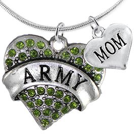 "<Br>      WHOLESALE ARMY MILITARY JEWELRY  <BR>                AN ALLAN ROBIN DESIGN!! <Br>          CADMIUM, LEAD & NICKEL FREE!!  <Br>W1480-1837N2 - ""ARMY - MOM"" HEART  <BR>  CHARMS ON LOBSTER CLASP SNAKE CHAIN NECKLACE <BR>        FROM $8.50 TO $10.50 �2016"