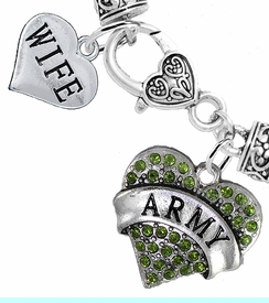 """<Br>     WHOLESALE ARMY MILITARY JEWELRY  <BR>                AN ALLAN ROBIN DESIGN!! <Br>          CADMIUM, LEAD & NICKEL FREE!!  <Br> W1480-1876B1 - """"ARMY - WIFE"""" HEART  <BR>  CHARMS ON HEART LOBSTER CLASP BRACELET <BR>            FROM $7.50 TO $9.50 �2016"""