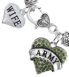 "<Br>     WHOLESALE ARMY MILITARY JEWELRY  <BR>                AN ALLAN ROBIN DESIGN!! <Br>          CADMIUM, LEAD & NICKEL FREE!!  <Br> W1480-1876B1 - ""ARMY - WIFE"" HEART  <BR>  CHARMS ON HEART LOBSTER CLASP BRACELET <BR>            FROM $7.50 TO $9.50 �2016"