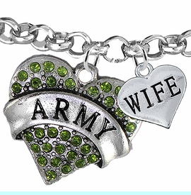 """<Br>         WHOLESALE ARMY MILITARY JEWELRY  <BR>                AN ALLAN ROBIN DESIGN!! <Br>          CADMIUM, LEAD & NICKEL FREE!!  <Br> W1480-1876B2 - """"ARMY - WIFE"""" HEART  <BR>CHARMS ON LOBSTER CLASP ROLLO CHAIN BRACELET <BR>            FROM $7.50 TO $9.50 �2016"""