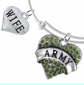 """<Br>         WHOLESALE ARMY MILITARY JEWELRY  <BR>                AN ALLAN ROBIN DESIGN!! <Br>          CADMIUM, LEAD & NICKEL FREE!!  <Br> W1480-1876B9 - """"ARMY - WIFE"""" HEART  <BR>CHARMS ON THIN ADJUSTABLE WIRE BRACELET <BR>            FROM $7.50 TO $9.50 �2016"""