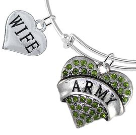 "<Br>         WHOLESALE ARMY MILITARY JEWELRY  <BR>                AN ALLAN ROBIN DESIGN!! <Br>          CADMIUM, LEAD & NICKEL FREE!!  <Br> W1480-1876B9 - ""ARMY - WIFE"" HEART  <BR>CHARMS ON THIN ADJUSTABLE WIRE BRACELET <BR>            FROM $7.50 TO $9.50 �2016"