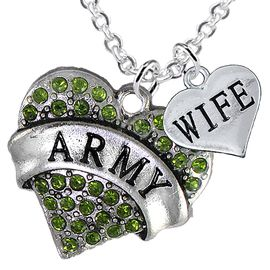 """<Br>      WHOLESALE ARMY MILITARY JEWELRY  <BR>                AN ALLAN ROBIN DESIGN!! <Br>          CADMIUM, LEAD & NICKEL FREE!!  <Br>W1480-1876N1 - """"ARMY - WIFE"""" HEART  <BR>  CHARMS ON LOBSTER CLASP CHAIN NECKLACE <BR>        FROM $8.50 TO $10.50 �2016"""