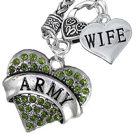 """<Br>      WHOLESALE ARMY MILITARY JEWELRY  <BR>                AN ALLAN ROBIN DESIGN!! <Br>          CADMIUM, LEAD & NICKEL FREE!!  <Br>W1480-1876N10 - """"ARMY - WIFE"""" HEART  <BR>CHARMS ON CLASP OF HEART LOBSTER CLASP CHAIN <BR>    NECKLACE FROM $8.50 TO $10.50 �2016"""