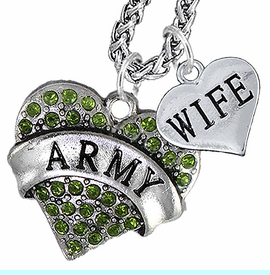 """<Br>             WHOLESALE ARMY MILITARY JEWELRY   <BR>                     AN ALLAN ROBIN DESIGN!!  <Br>               CADMIUM, LEAD & NICKEL FREE!!   <Br> W1480-1876N14 - """"ARMY - WIFE"""" HEART   <BR>CHARMS ON CHAIN OF HEART LOBSTER CLASP CHAIN  <BR>         NECKLACE FROM $8.50 TO $10.50 �2016"""