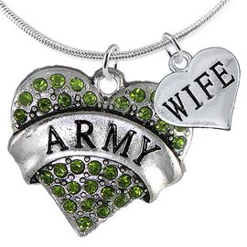 """<Br>      WHOLESALE ARMY MILITARY JEWELRY  <BR>                AN ALLAN ROBIN DESIGN!! <Br>          CADMIUM, LEAD & NICKEL FREE!!  <Br>W1480-1876N2 - """"ARMY - WIFE"""" HEART  <BR>  CHARMS ON LOBSTER CLASP SNAKE CHAIN NECKLACE <BR>        FROM $8.50 TO $10.50 �2016"""