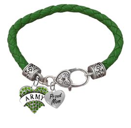 <BR><B>ARMY, PROUD MOM, GENUINE CRYSTAL HEART</B><BR><BR>GENUINE GREEN WOVEN LEATHER BRACELET, VINTAGE ANTIQUE <BR>SILVER LOBSTER CLASP, NO NICKEL, NO LEAD, AND<BR> NO POISONOUS CADMIUM W1480-320B36 $11.88 Each  �2018
