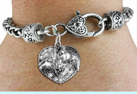 <BR>    WHOLESALE FASHION ANIMAL JEWELRY <bR>                  EXCLUSIVELY OURS!! <Br>             AN ALLAN ROBIN DESIGN!! <BR>       LEAD, NICKEL & CADMIUM FREE!! <BR>  W1512SB - ANTIQUED SILVER TONE AND <BR>  CLEAR CRYSTAL HORSE AND FOAL CHARM <BR>     ON HEART LOBSTER CLASP BRACELET <Br>       FROM $5.63 TO $12.50 �2013