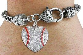 <BR>    WHOLESALE FASHION SPORTS JEWELRY <bR>                  EXCLUSIVELY OURS!! <Br>             AN ALLAN ROBIN DESIGN!! <BR>       LEAD, NICKEL & CADMIUM FREE!! <BR>  W1515SB - ANTIQUED SILVER TONE AND <BR>  CLEAR CRYSTAL BASEBALL HEART CHARM <BR>     ON HEART LOBSTER CLASP BRACELET <Br>       FROM $5.63 TO $12.50 �2013