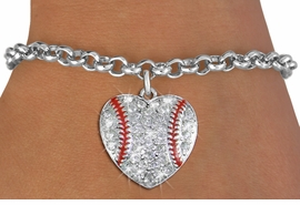 <BR>    WHOLESALE SPORTS FASHION JEWELRY <bR>                  EXCLUSIVELY OURS!! <Br>             AN ALLAN ROBIN DESIGN!! <BR>    CLICK HERE TO SEE 1000+ EXCITING <BR>          CHANGES THAT YOU CAN MAKE! <BR>       LEAD, NICKEL & CADMIUM FREE!! <BR>     W1515SB - SILVER TONE AND CLEAR <BR>    CRYSTAL BASEBALL HEART CHARM AND <BR>  BRACELET FROM $5.40 TO $9.85 �2013