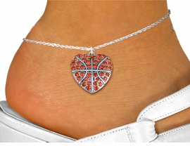 <bR>      WHOLESALE SPORTS LOVER JEWELRY <BR>                    EXCLUSIVELY OURS!! <BR>               AN ALLAN ROBIN DESIGN!! <BR>         LEAD, NICKEL & CADMIUM FREE!! <BR>   W1516SAK - DETAILED SILVER TONE AND <BR> ORANGE CRYSTAL BASKETBALL HEART CHARM <Br>      ANKLET FROM $5.40 TO $9.85 �2013