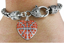 <BR>    WHOLESALE FASHION SPORTS JEWELRY <bR>                  EXCLUSIVELY OURS!! <Br>             AN ALLAN ROBIN DESIGN!! <BR>       LEAD, NICKEL & CADMIUM FREE!! <BR>  W1516SB - ANTIQUED SILVER TONE AND <BR> ORANGE CRYSTAL BASKETBALL HEART CHARM <BR>     ON HEART LOBSTER CLASP BRACELET <Br>       FROM $5.63 TO $12.50 �2013