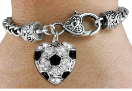 <BR>    WHOLESALE FASHION SPORTS JEWELRY <bR>                  EXCLUSIVELY OURS!! <Br>             AN ALLAN ROBIN DESIGN!! <BR>       LEAD, NICKEL & CADMIUM FREE!! <BR>  W1518SB - ANTIQUED SILVER TONE AND <BR>  CLEAR CRYSTAL SOCCER HEART CHARM <BR>     ON HEART LOBSTER CLASP BRACELET <Br>       FROM $5.63 TO $12.50 �2013