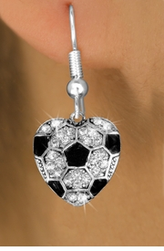 <BR>  WHOLESALE SPORTS FASHION EARRINGS <bR>                EXCLUSIVELY OURS!! <Br>           AN ALLAN ROBIN DESIGN!! <BR>     LEAD, NICKEL & CADMIUM FREE!! <BR>   W1518SE - SILVER TONE AND CLEAR <BR> CRYSTAL SOCCER HEART SHAPED CHARM <BR>   EARRINGS FROM $5.40 TO $10.45 �2013