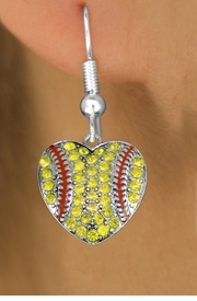 <BR>  WHOLESALE SPORTS FASHION EARRINGS <bR>                EXCLUSIVELY OURS!! <Br>           AN ALLAN ROBIN DESIGN!! <BR>     LEAD, NICKEL & CADMIUM FREE!! <BR>   W1519SE - SILVER TONE AND YELLOW <BR> CRYSTAL SOFTBALL HEART SHAPED CHARM <BR>   EARRINGS FROM $5.40 TO $10.45 �2013