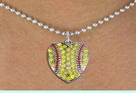 <BR> WHOLESALE SPORTS LOVER COSTUME JEWELRY <bR>                    EXCLUSIVELY OURS!! <Br>               AN ALLAN ROBIN DESIGN!! <BR>      CLICK HERE TO SEE 1000+ EXCITING <BR>            CHANGES THAT YOU CAN MAKE! <BR>         LEAD, NICKEL & CADMIUM FREE!! <BR> W1519SN - SPORTY SILVER TONE AND YELLOW <BR>   CRYSTAL SOFTBALL HEART SHAPED CHARM <BR> AND NECKLACE FROM $5.40 TO $9.85 �2013