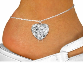 <bR>      WHOLESALE SPORTS LOVER JEWELRY <BR>                    EXCLUSIVELY OURS!! <BR>               AN ALLAN ROBIN DESIGN!! <BR>         LEAD, NICKEL & CADMIUM FREE!! <BR>   W1520SAK - DETAILED SILVER TONE AND <BR>  CLEAR CRYSTAL VOLLEYBALL HEART CHARM <Br>      ANKLET FROM $5.40 TO $9.85 �2013