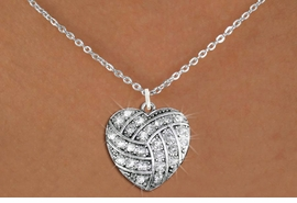 <BR> WHOLESALE SPORTS LOVER COSTUME JEWELRY <bR>                    EXCLUSIVELY OURS!! <Br>               AN ALLAN ROBIN DESIGN!! <BR>      CLICK HERE TO SEE 1000+ EXCITING <BR>            CHANGES THAT YOU CAN MAKE! <BR>         LEAD, NICKEL & CADMIUM FREE!! <BR> W1520SN - SPORTY SILVER TONE AND CLEAR <BR>  CRYSTAL VOLLEYBALL HEART SHAPED CHARM <BR> AND NECKLACE FROM $5.40 TO $9.85 �2013