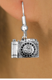 <BR>  WHOLESALE HOBBY FASHION EARRINGS <bR>                EXCLUSIVELY OURS!! <Br>           AN ALLAN ROBIN DESIGN!! <BR>     LEAD, NICKEL & CADMIUM FREE!! <BR>  W1521SE - ANTIQUED SILVER TONE WITH <BR>  CLEAR AND JET CRYSTAL CAMERA CHARM <BR>   EARRINGS FROM $5.40 TO $10.45 �2013