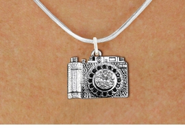 <BR>    WHOLESALE HOBBY NECKLACE JEWELRY <bR>                    EXCLUSIVELY OURS!! <Br>               AN ALLAN ROBIN DESIGN!! <BR>      CLICK HERE TO SEE 1000+ EXCITING <BR>            CHANGES THAT YOU CAN MAKE! <BR>         LEAD, NICKEL & CADMIUM FREE!! <BR>   W1521SN - ANTIQUED SILVER TONE WITH <BR>    JET AND CLEAR CRYSTAL CAMERA CHARM <BR>     NECKLACE FROM $5.40 TO $9.85 �2013