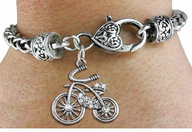 <BR>  WHOLESALE BICYCLING FASHION JEWELRY <bR>                   EXCLUSIVELY OURS!! <Br>              AN ALLAN ROBIN DESIGN!! <BR>        LEAD, NICKEL & CADMIUM FREE!! <BR>   W1524SB - ANTIQUED SILVER TONE AND <BR>  CLEAR CRYSTAL CLASSIC BICYCLE CHARM <BR>      ON HEART LOBSTER CLASP BRACELET <Br>        FROM $5.98 TO $12.85 �2013