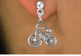 <BR>  WHOLESALE HOBBY FASHION EARRINGS <bR>                 EXCLUSIVELY OURS!! <Br>            AN ALLAN ROBIN DESIGN!! <BR>      LEAD, NICKEL & CADMIUM FREE!! <BR>  W1524SE - ANTIQUED SILVER TONE AND <BR> CLEAR CRYSTAL CLASSIC BICYCLE CHARM <BR>    EARRINGS FROM $5.40 TO $10.45 �2013