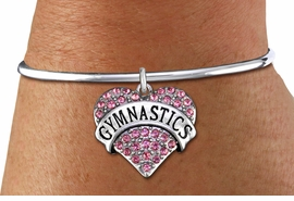 """<bR>             GYMNAST CHARM BRACELET <BR>                     EXCLUSIVELY OURS!! <BR>                AN ALLAN ROBIN DESIGN!! <BR>          CADMIUM, LEAD & NICKEL FREE!! <BR>W1525SB7 - SILVER TONE AND PINK CRYSTAL <BR>""""GYMNASTICS"""" HEART CHARM & SOLID WIRE <BR>             BRACELET $10.68 EACH �2014"""
