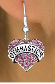 """<BR>  WHOLESALE HEART FASHION EARRINGS <bR>                 EXCLUSIVELY OURS!! <Br>            AN ALLAN ROBIN DESIGN!! <BR>      LEAD, NICKEL & CADMIUM FREE!! <BR>  W1525SE - ANTIQUED SILVER TONE AND <BR> PINK CRYSTAL """"GYMNASTICS"""" HEART CHARM <BR>    EARRINGS FROM $5.40 TO $10.45 �2013"""