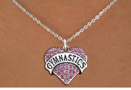 "<BR>       GYNASTIC CHARM NECKLACE - ADJUSTABLE <bR>      <Br>          LEAD, NICKEL & CADMIUM FREE!! <BR>     W1525N1- ANTIQUED SILVER TONE AND <BR>  PINK CRYSTAL ""GYMNASTICS"" HEART CHARM <BR>      NECKLACE  $9.68 �2013"