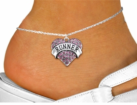 "<bR>      WHOLESALE FASHION COSTUME JEWELRY <BR>                     EXCLUSIVELY OURS!! <BR>                AN ALLAN ROBIN DESIGN!! <BR>          LEAD, NICKEL & CADMIUM FREE!! <BR>     W1526SAK - SILVER TONE AND GENUINE <BR>      PINK CRYSTAL ""RUNNER"" HEART CHARM <Br>   AND ANKLET FROM $4.70 TO $9.35 �2013"